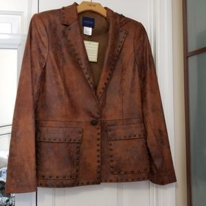 Don Caster Faux Suede Distressed Blazer Jacket